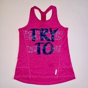 "Reebok ""Try to keep up"" Racerback Tank Top 